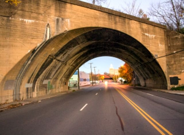 Enhancing this abandoned railway arch located along the Mahoning Avenue corridor into downtown Youngstown is one of five projects selected.