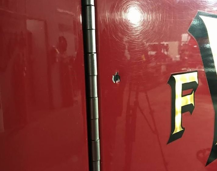 One of two bullet holes in Youngstown fire engine number 7