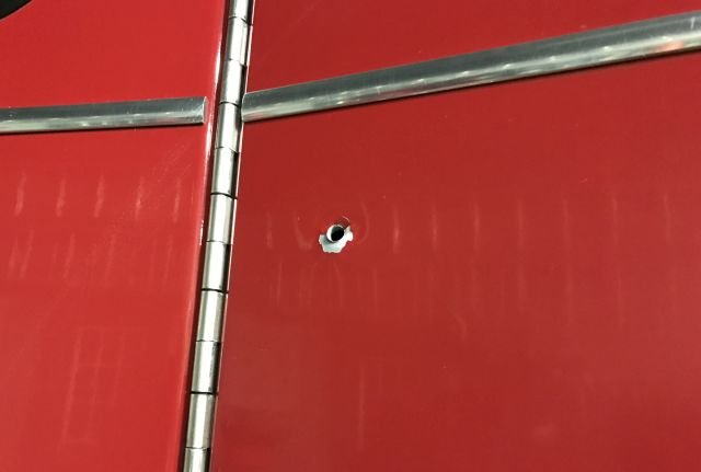 Second bullet hole in Youngstown fire truck