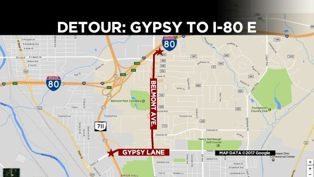 Maps Show Detours For Two I Ramps Closing WFMJcom News - Us map of interstate 80