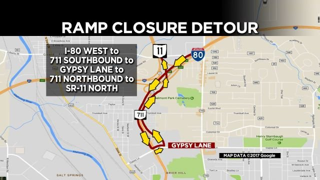 Detour 80 WB to 11 NB