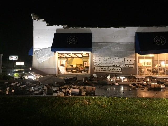 storm damages boardman car dealership and furniture store news weather sports for. Black Bedroom Furniture Sets. Home Design Ideas
