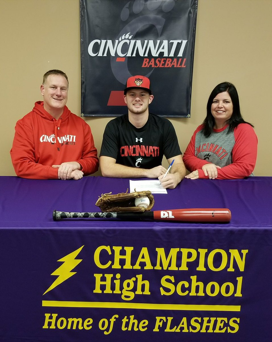 Champion's Drake Batcho signs National Letter of Intent with Cincinnati for baseball.