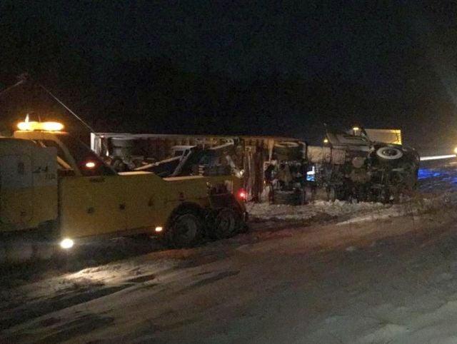 UPS truck overturns on I-80