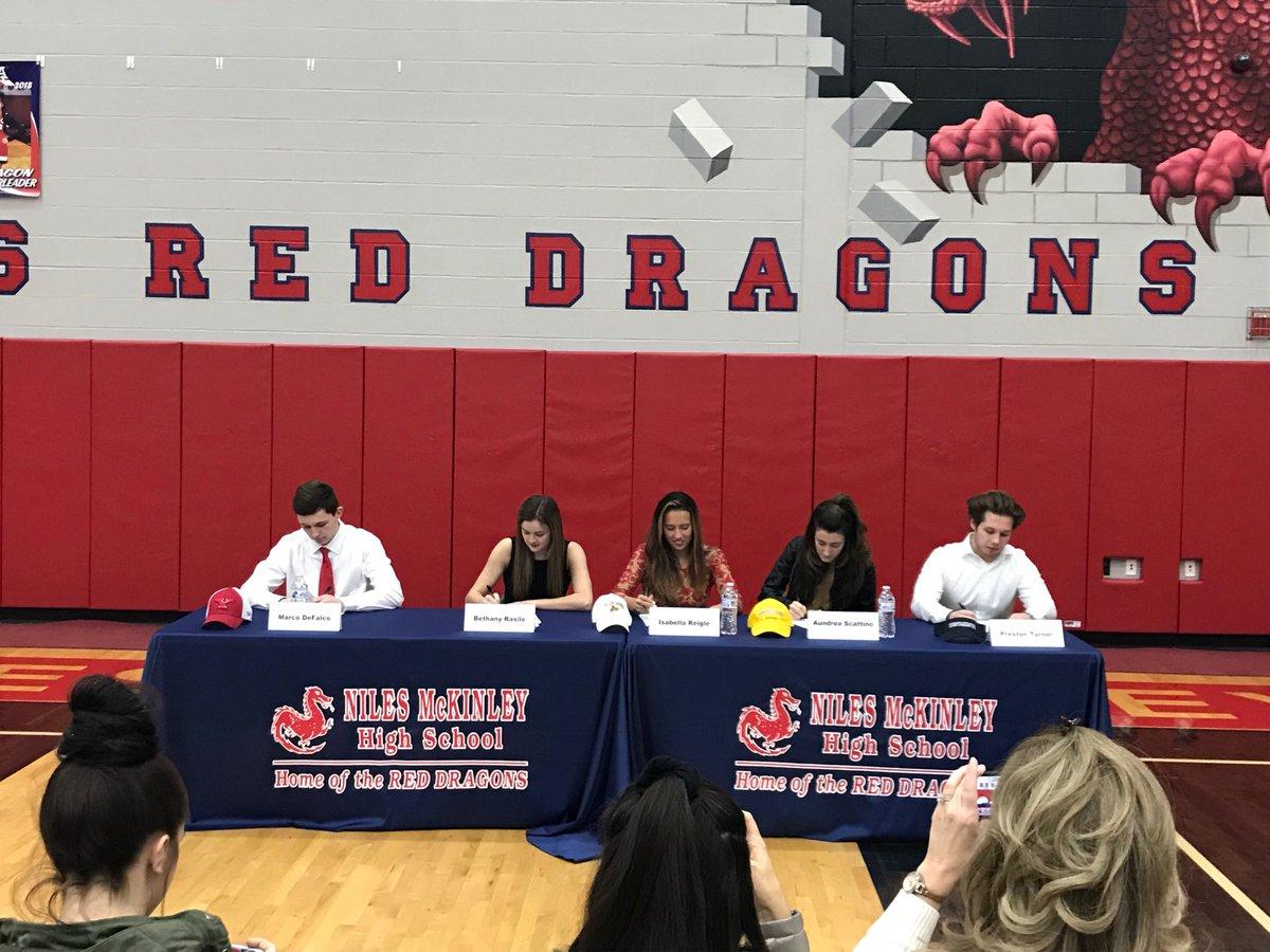Niles Signing Day: Marco DeFalco - YSU baseball, Bethany Rasile - Pitt soccer, Bella Reigle - Baldwin Wallace soccer, Aundrea Scattino - Baldwin Wallace soccer, Preston Turner - Westminster football.