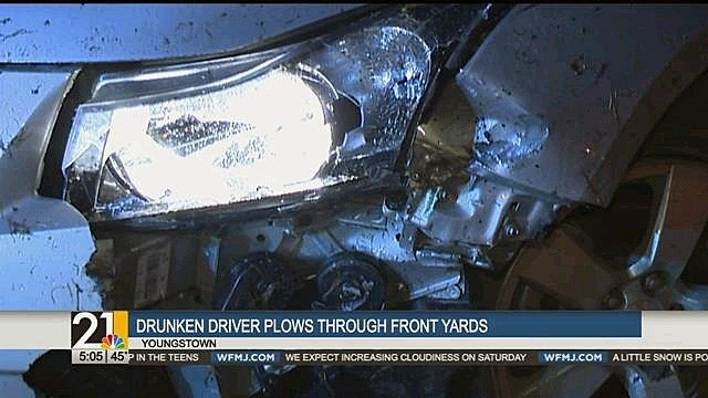 Car careens through Boardman yards, driver cited for OVI