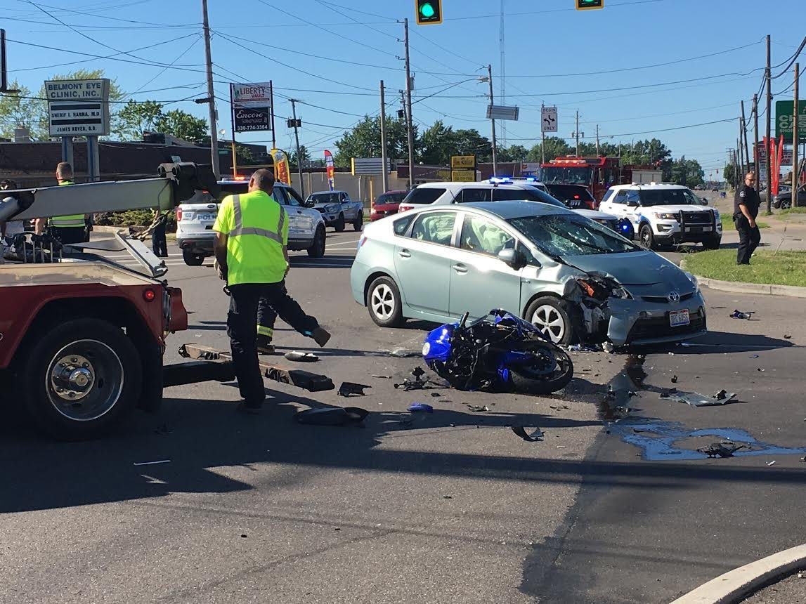 car hits motorcycle at liberty intersection - wfmj news weather