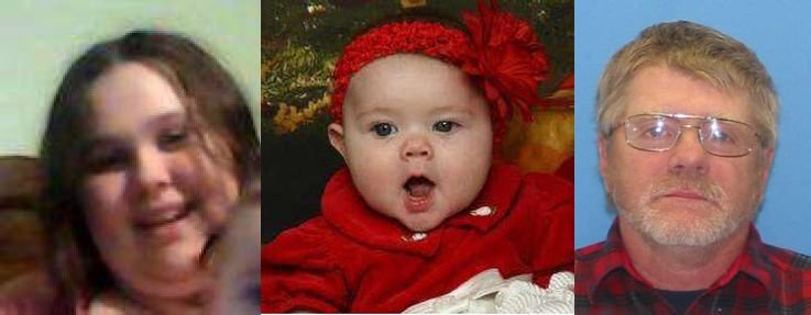 From Left: 16-year-old Shaina Tenney, 7-month-old Grace Tenney and suspected abductor Margel Tenney.