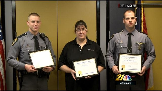 CANFIELD, Ohio   Two Ohio State Highway Patrol Troopers Were Honored For  Their Fast Actions That Saved The Life Of A Driver Experiencing A Heroin  Overdose.