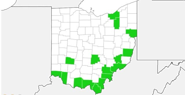 Extent of Kudzu growth in Ohio