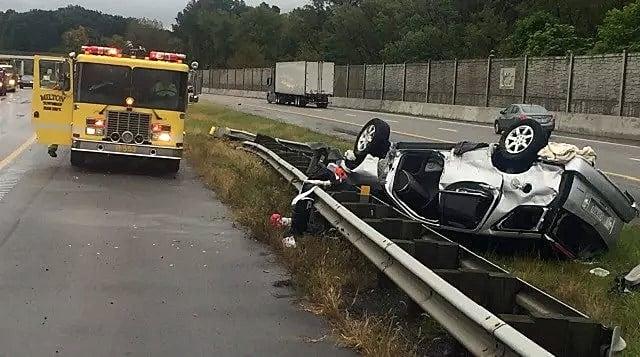One taken to hospital after rollover crash on Interstate 76