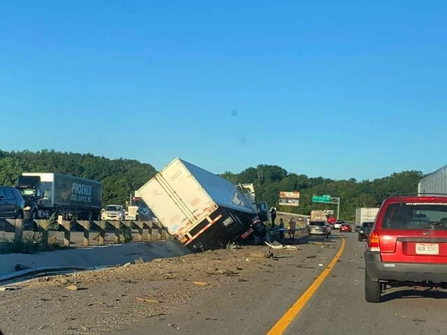 I-80 tractor trailer crash sends driver to the hospital -