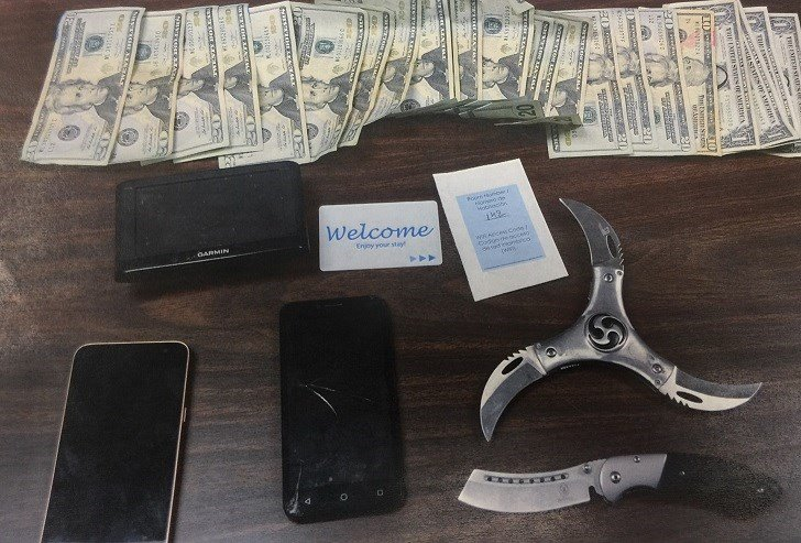 Deputies confiscated a hotel key card, weapons, and $230 during Wirth's arrest